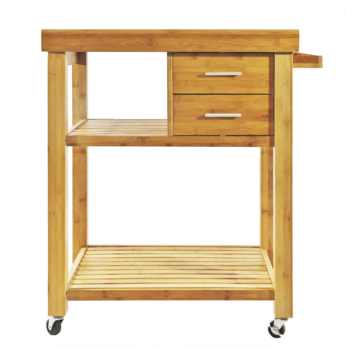 Rolling Bamboo Kitchen Island Cart Trolley, Cabinet w/ Towel Rack ...