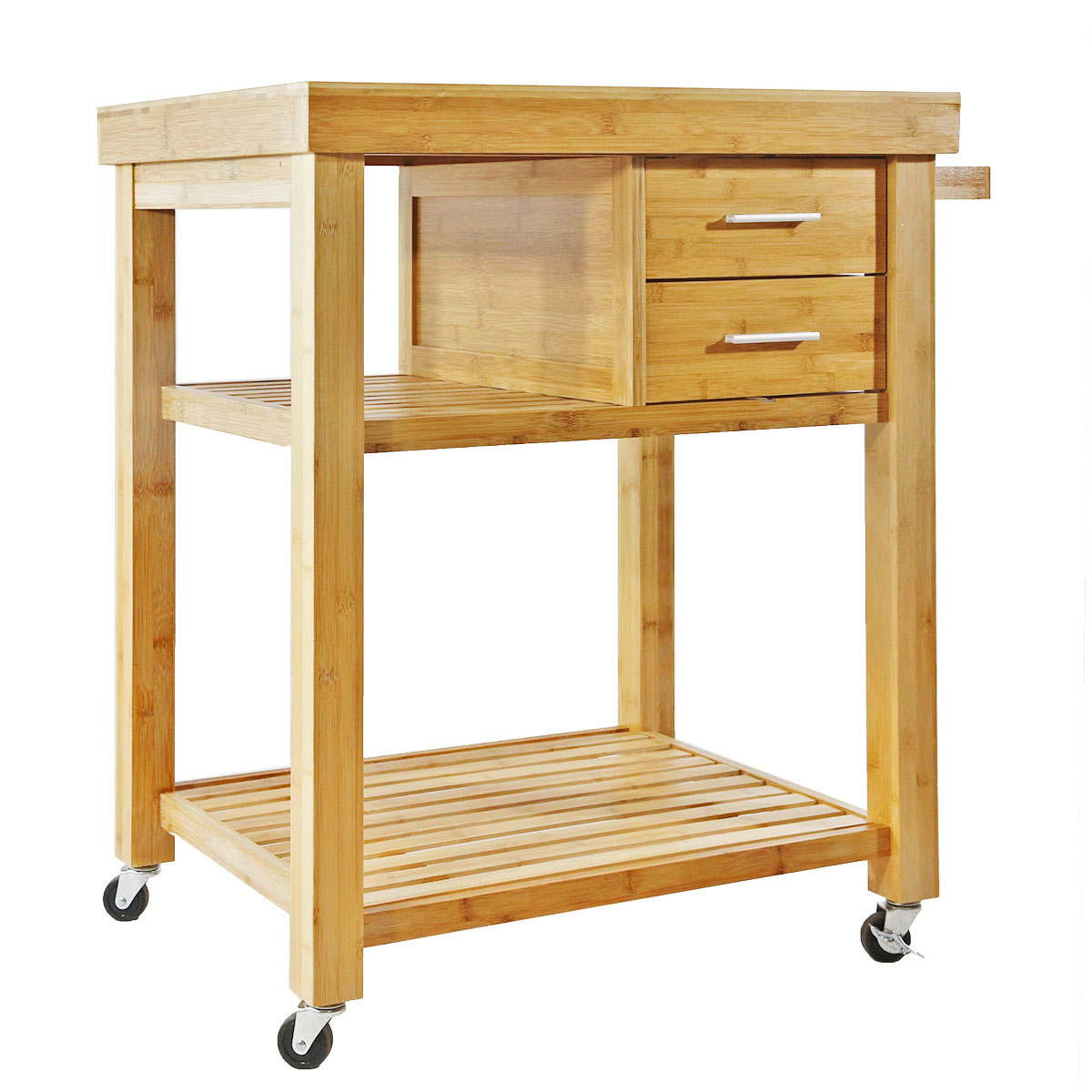 bamboo kitchen island rolling bamboo wood kitchen island cart trolley w towel rack drawer shelves 764475460126 ebay 1904