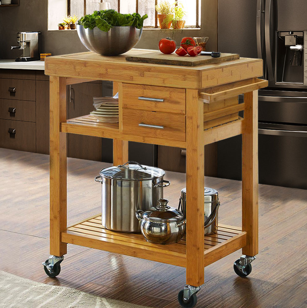 Rolling bamboo wood kitchen island cart trolley w towel rack drawer shelves