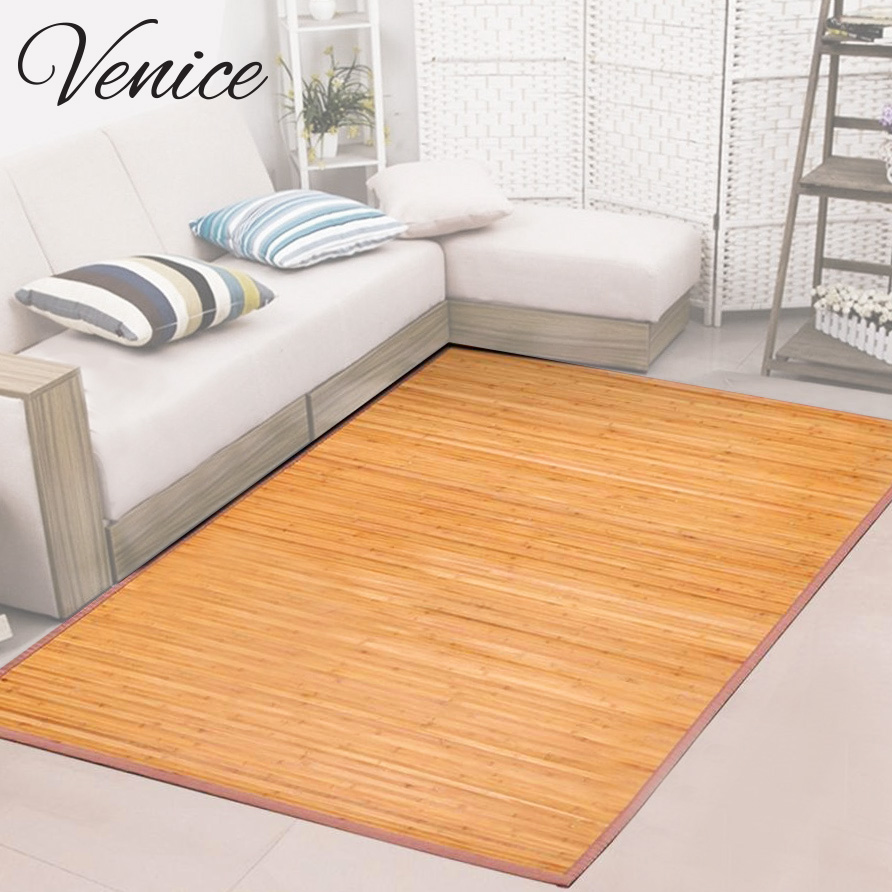 Venice natural bamboo 6 x 9 floor mat area rug indoor carpet non skid backing