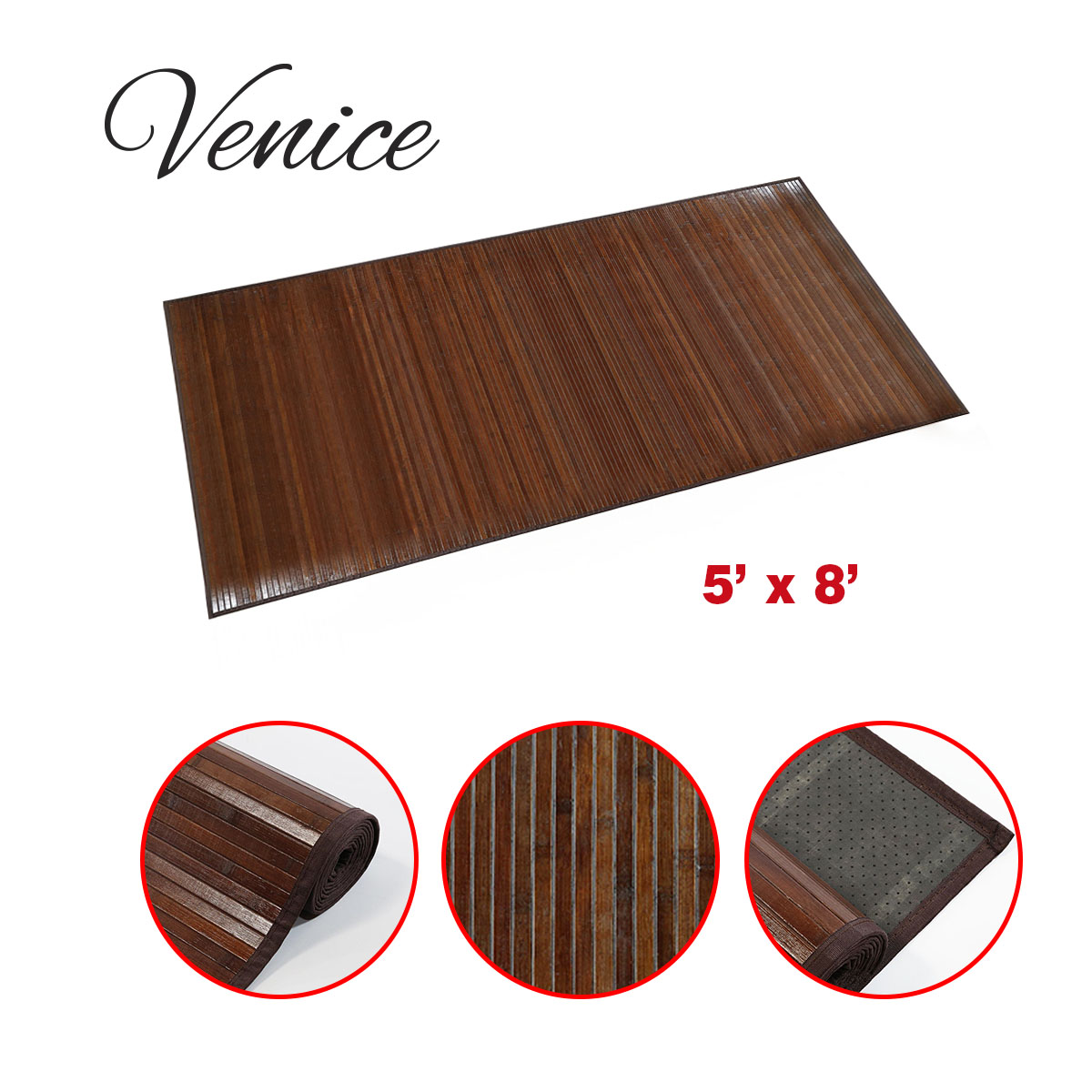 Venice Natural Bamboo 5 X 8 Floor Mat Walnut Color Area Rug