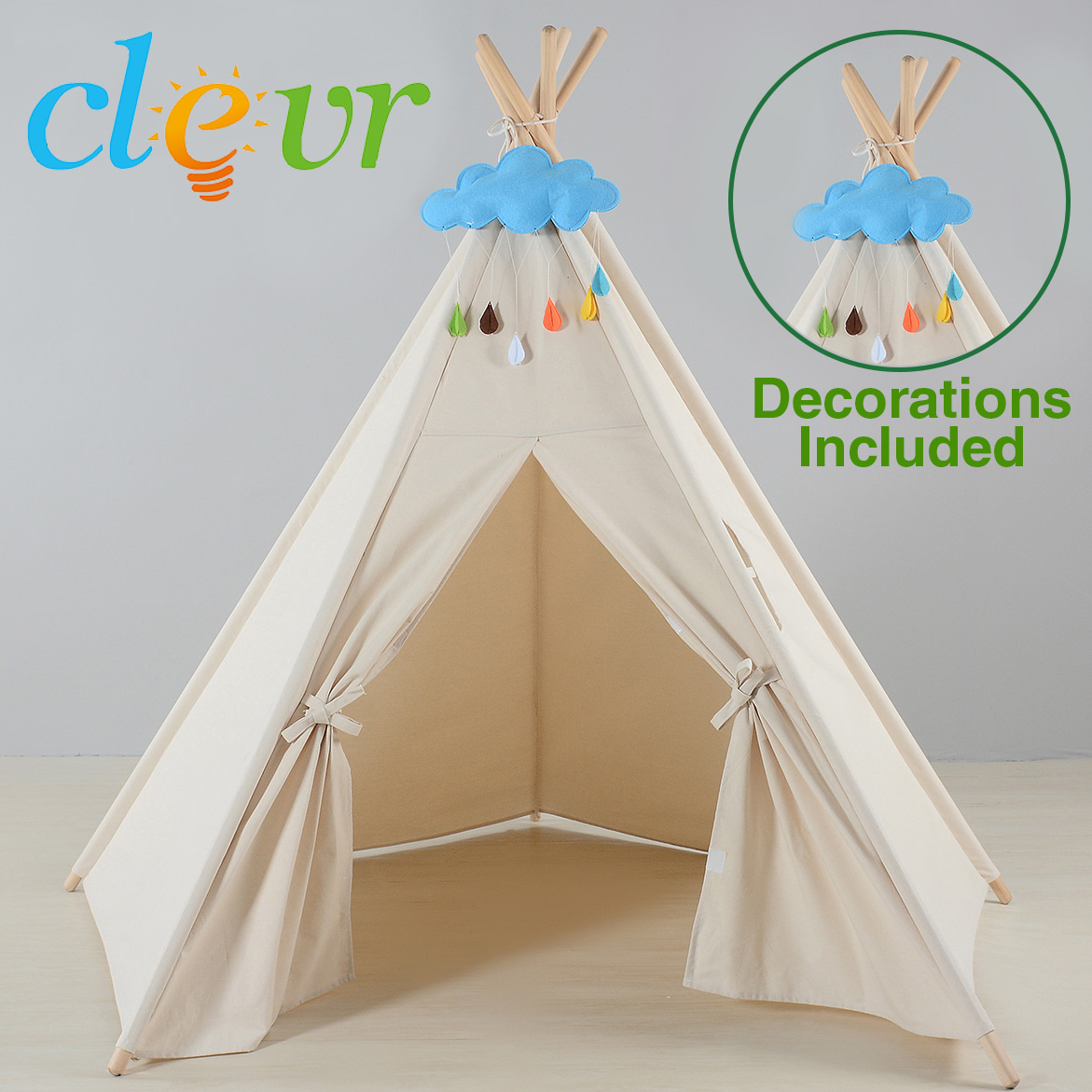 6u0027 Kids Indoor Outdoor Tent Play Teepee Playhouse Children White Blue Clouds & 6u0027 Kids Indoor Outdoor Tent Play Teepee Playhouse Children White ...