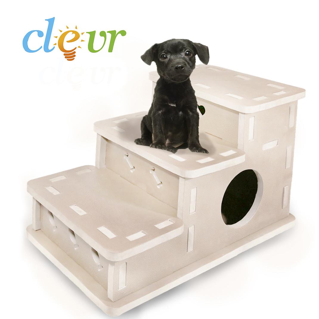 Clevr Interlocking Foam Pet Stairs U0026 Playhouse 3 Step Portable Steps Cream