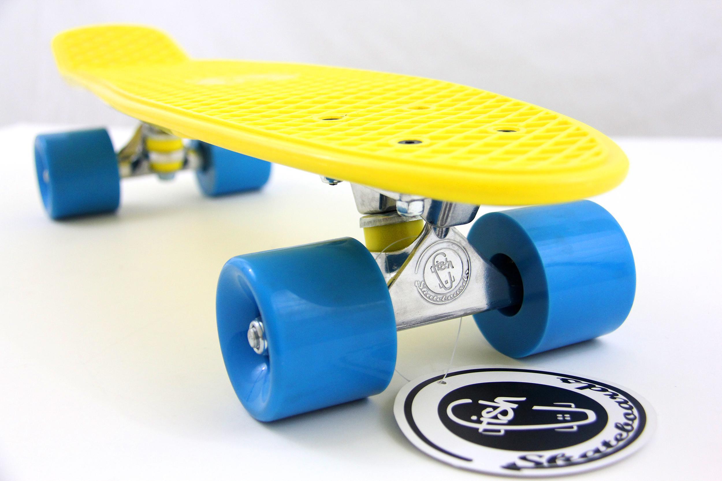 fish skateboard yellow 22 retro cruiser blue wheel silver. Black Bedroom Furniture Sets. Home Design Ideas