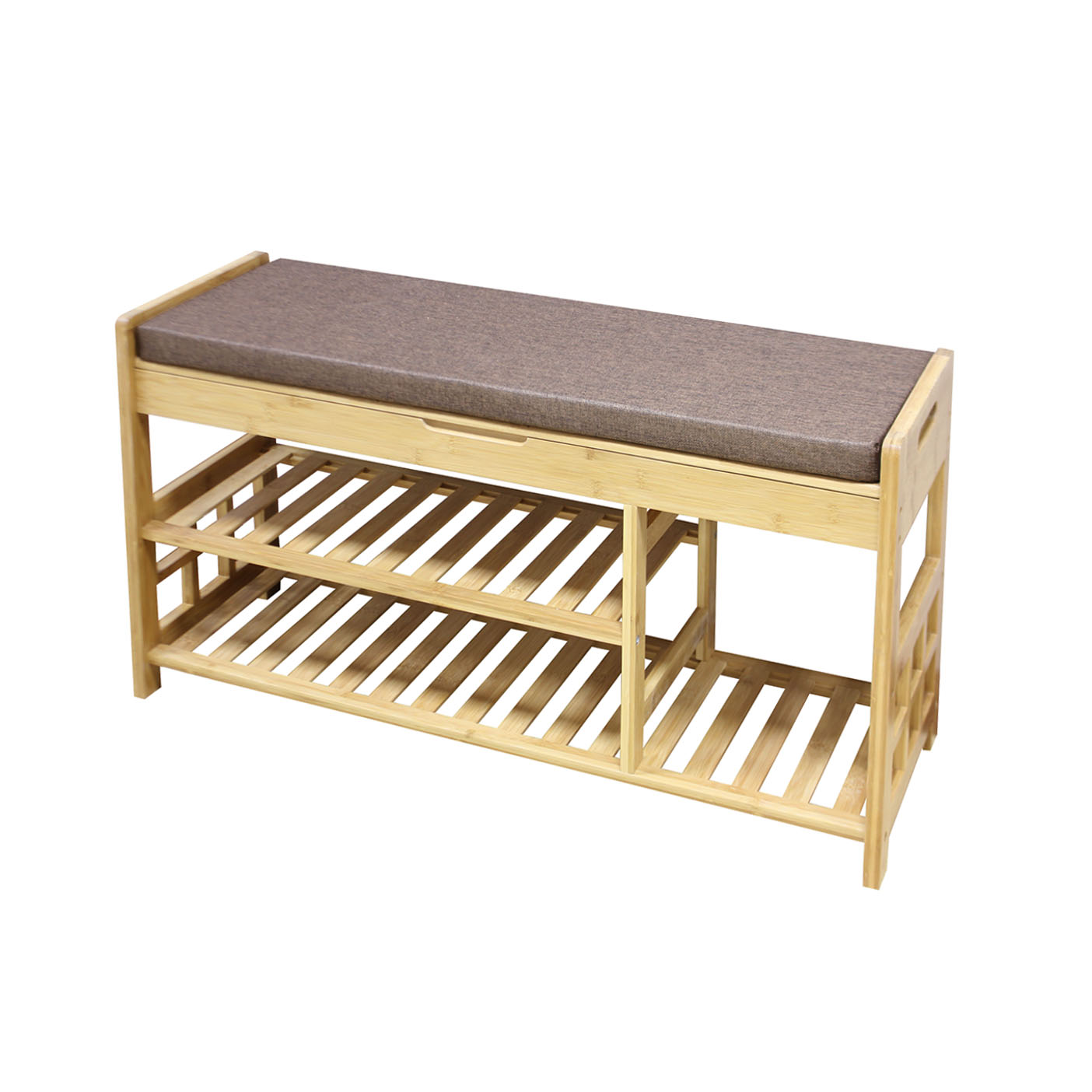 Clevr 2 Tier Shoe Rack Natural Bamboo Organizer Storage Bench With