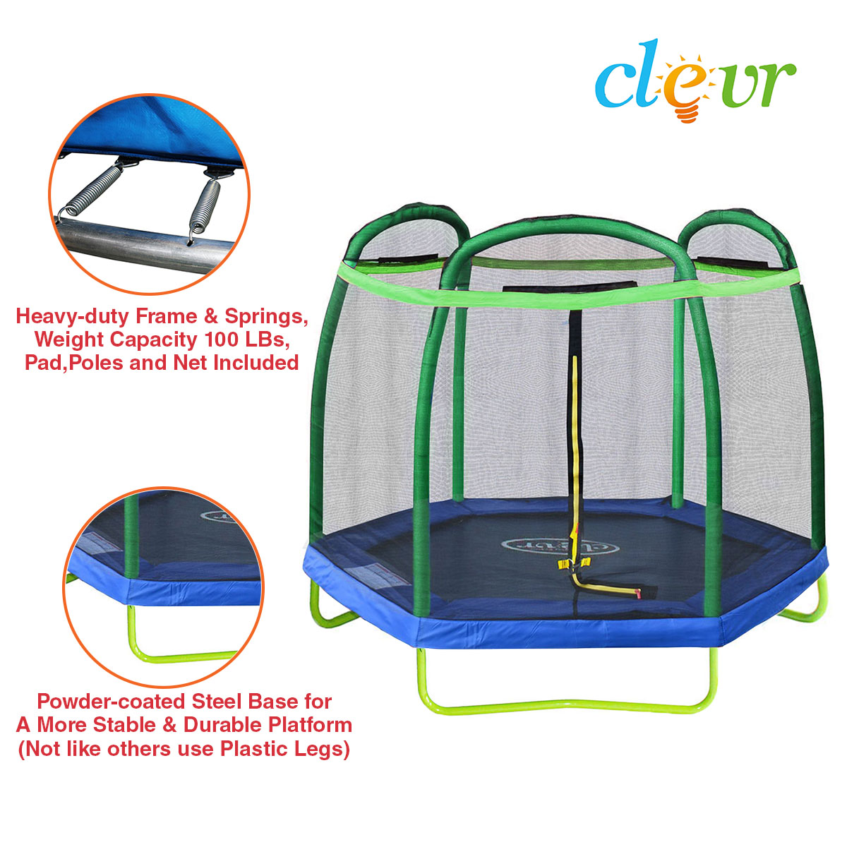 New 14ft Trampoline Combo Bounce Jump Safety Enclosure Net: New Clevr 7FT Trampoline With Safety Enclosure Bounce Jump