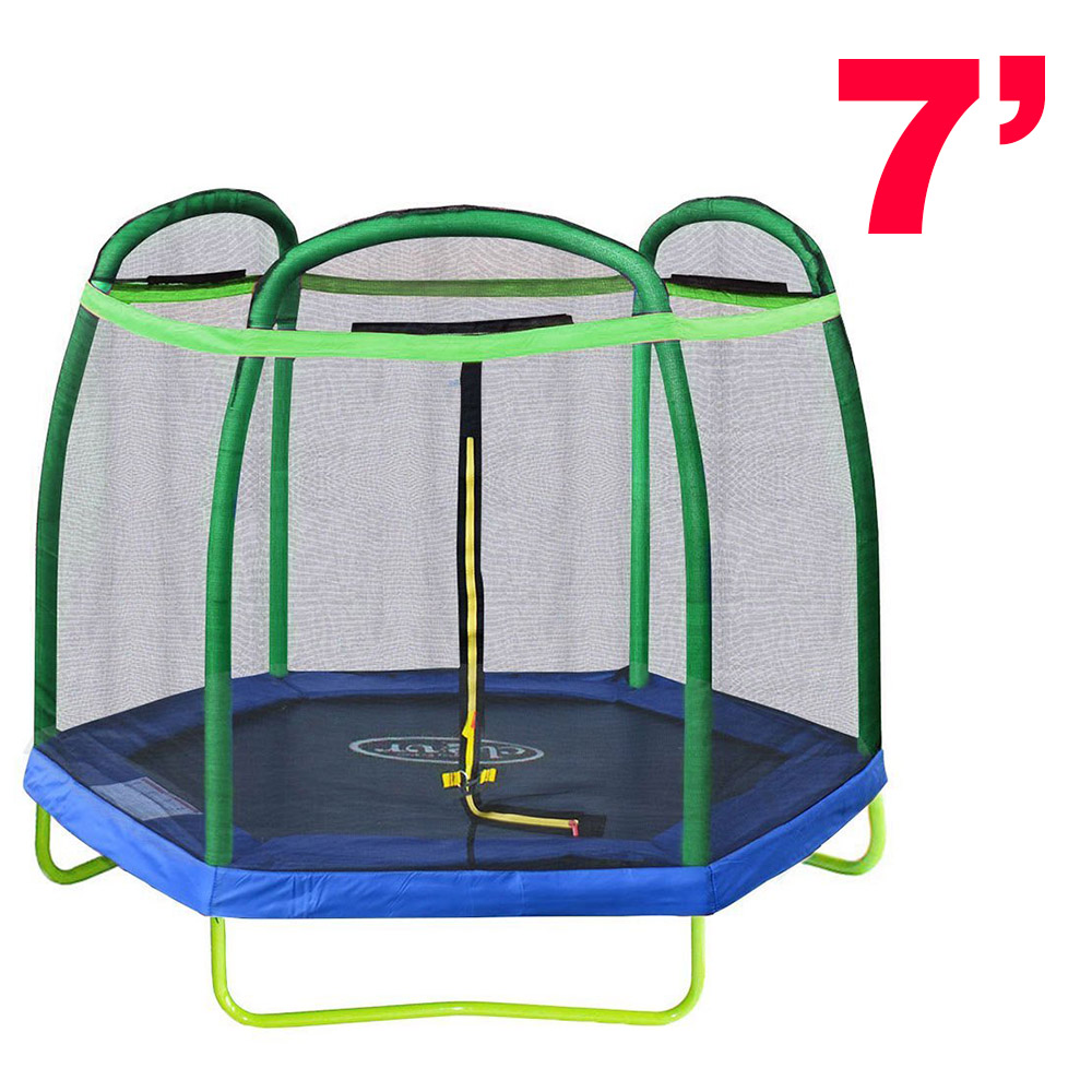 New Clevr 7FT Trampoline With Safety Enclosure Bounce Jump