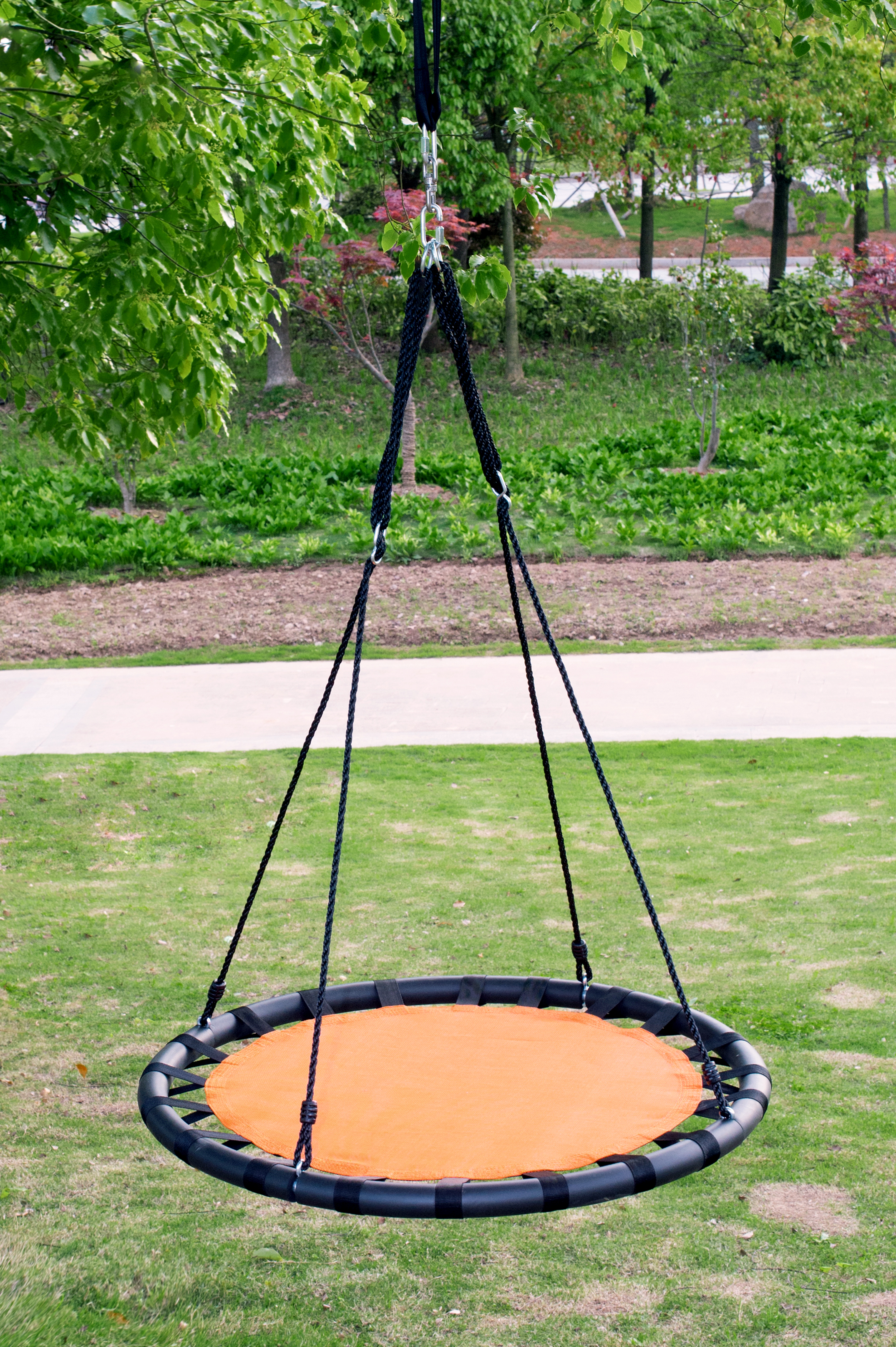 "40"" Round Outdoor Kids Children Tree Saucer Round Swing Tire Black"