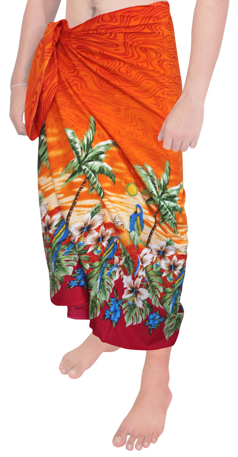 Cover Up For Men: Beach Wear Mens Sarong Pareo Wrap Cover Ups Bathing Suit