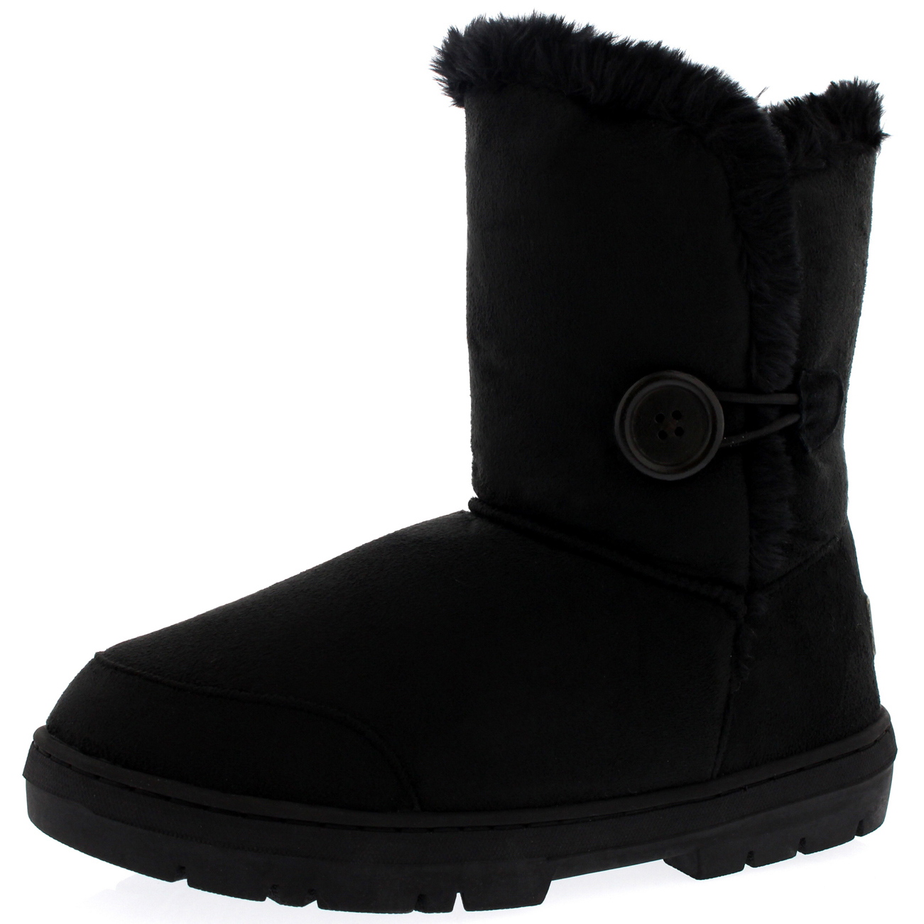 Womens One Button Short Classic Fur Lined Waterproof Winter Rain Snow Boots 3-9