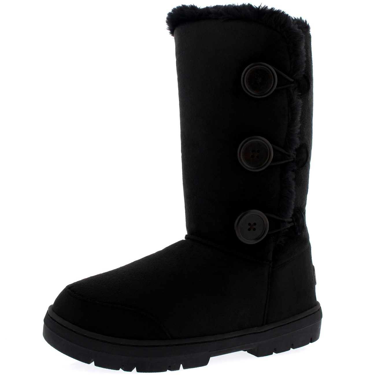 Womens Triplet Button Tall Classic Fur Waterproof Winter Rain Snow Boots 3-9