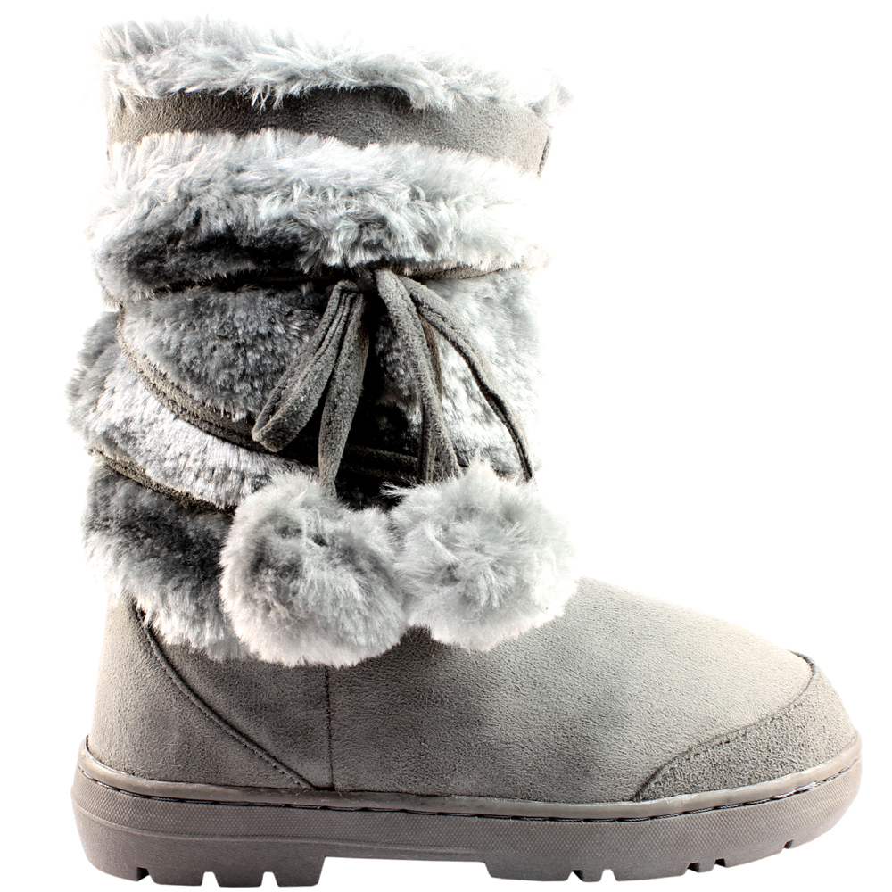 6c36cd43db4d Womens Pom Pom Short Classic Fur Lined Waterproof Winter Rain Snow Boots  3-9