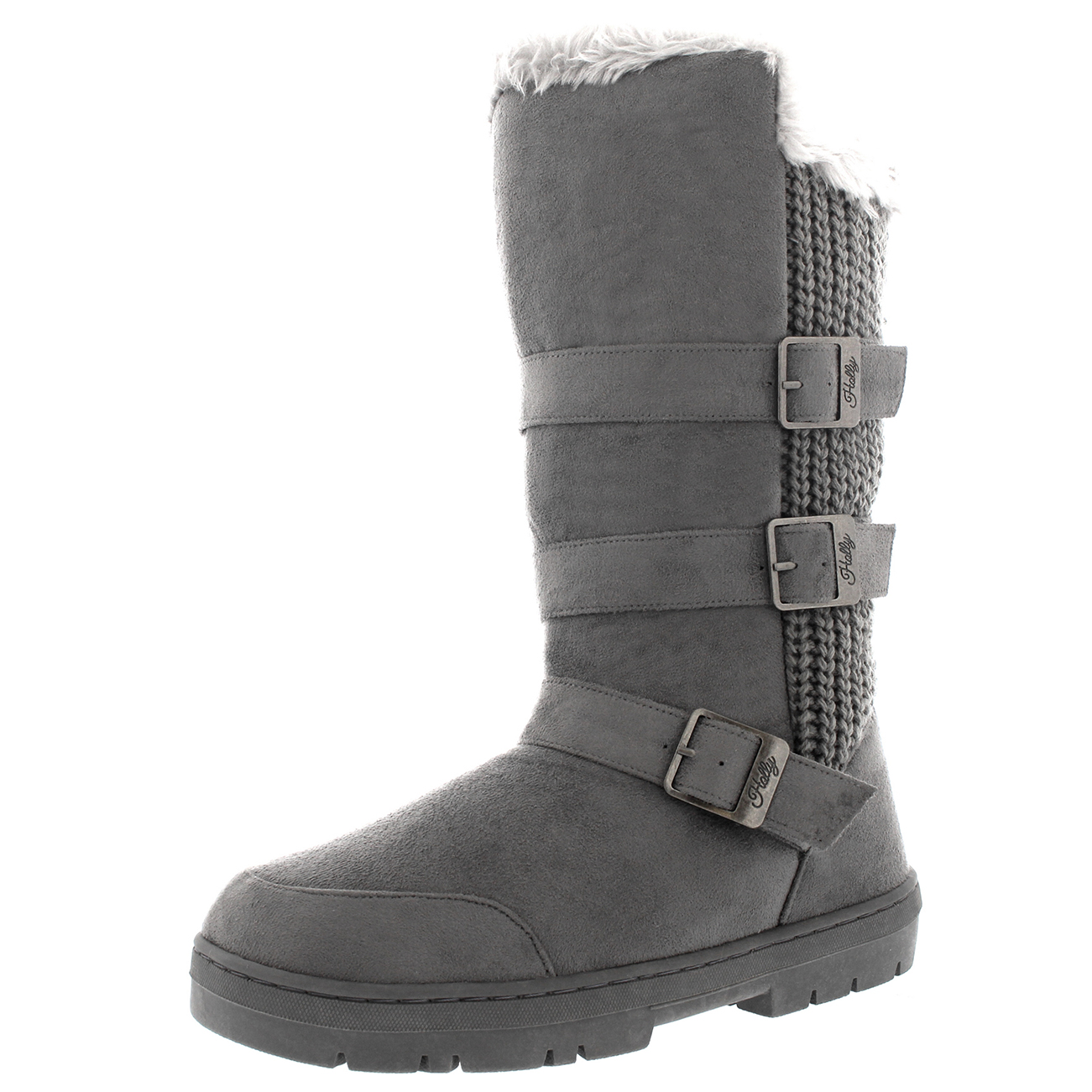 Womens Triple Buckle Fur Lined Waterproof Winter Snow Long ...