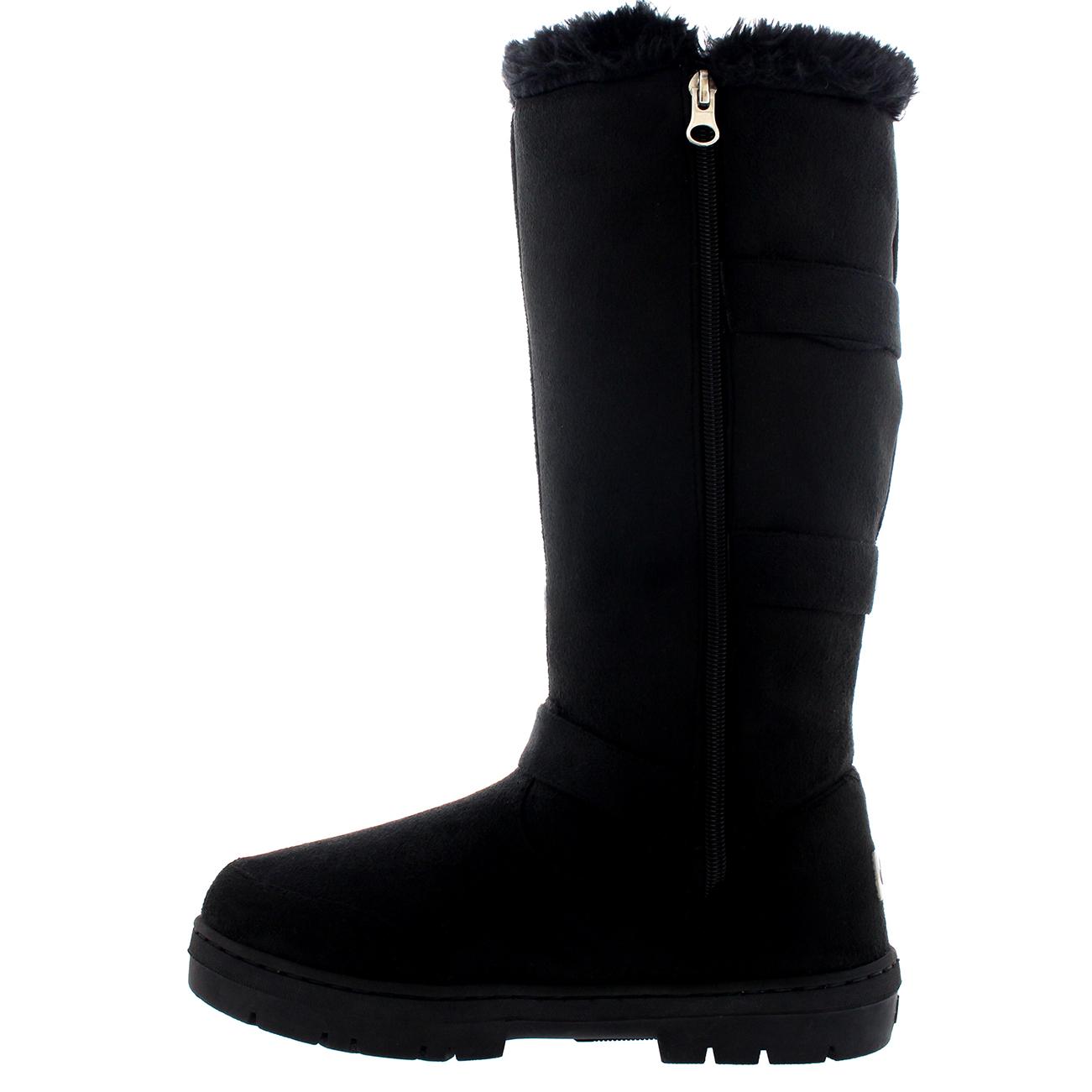 Womens Knee High Fur Lined Snow Waterproof Hard Sole