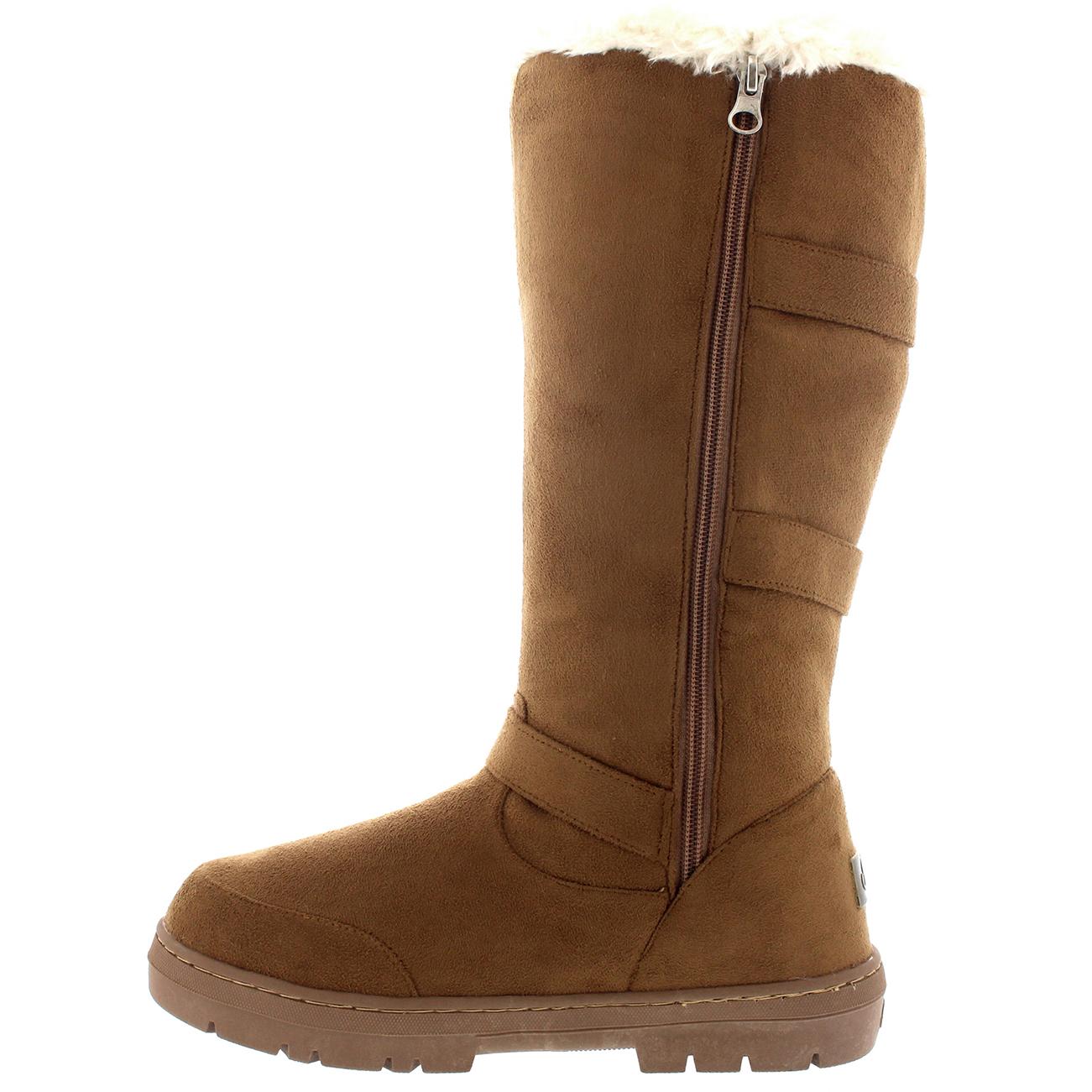 Womens Knee High Fur Lined Snow Waterproof Hard Sole Slouch Long ... a95559ac8