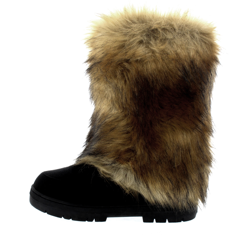 Womens Tall Rabbit Fur Covered Snow Rain Waterproof Eskimo