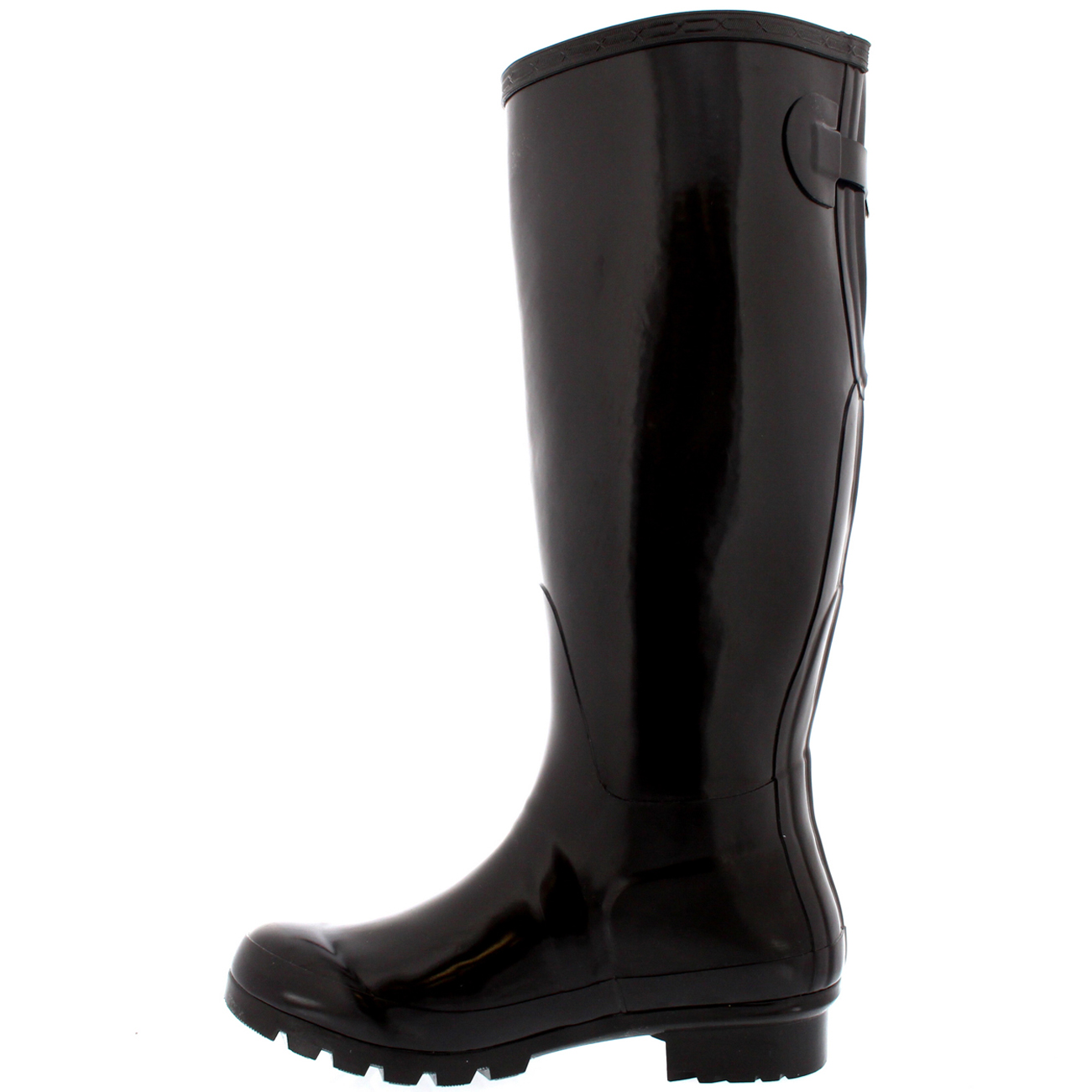 Womens-Original-Tall-Back-Adjustable-Gloss-Rubber-Welly-Knee-High-Boots-UK-3-10