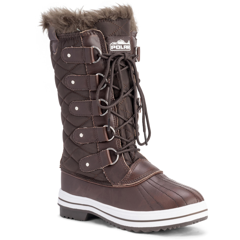 09b8402b34700e Womens Snow Boot Nylon Tall Winter Snow Waterproof Fur Lined Warm ...