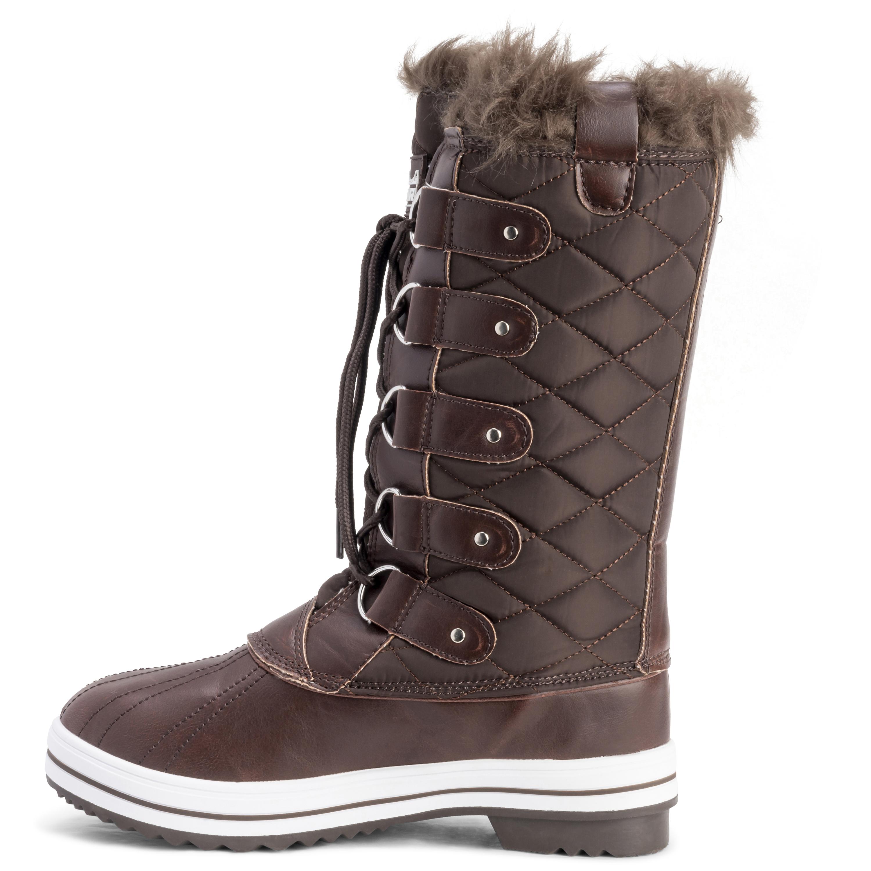 Womens Snow Boot Nylon Tall Winter Snow Waterproof Fur
