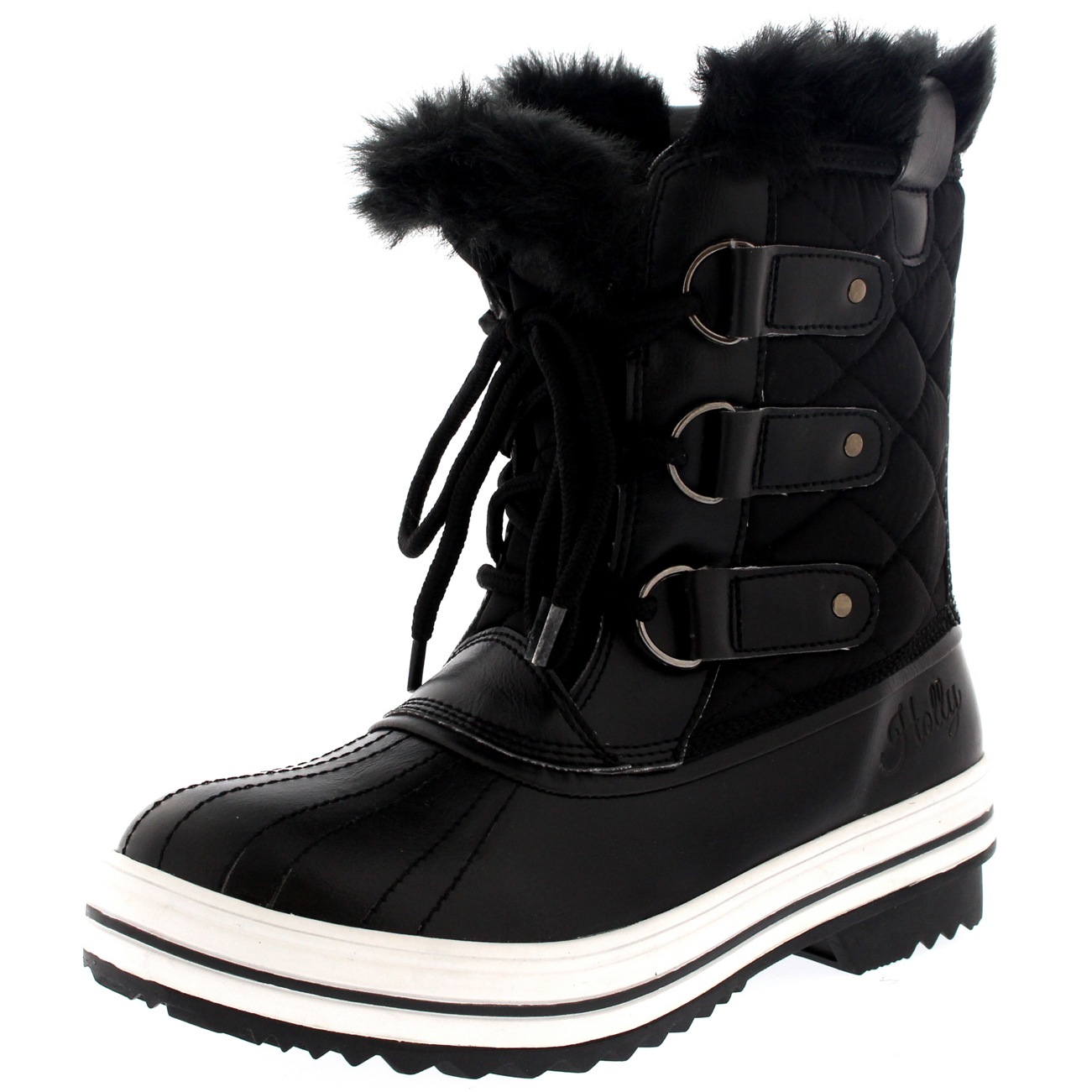 Womens-Snow-Boot-Nylon-Short-Winter-Snow-Fur-