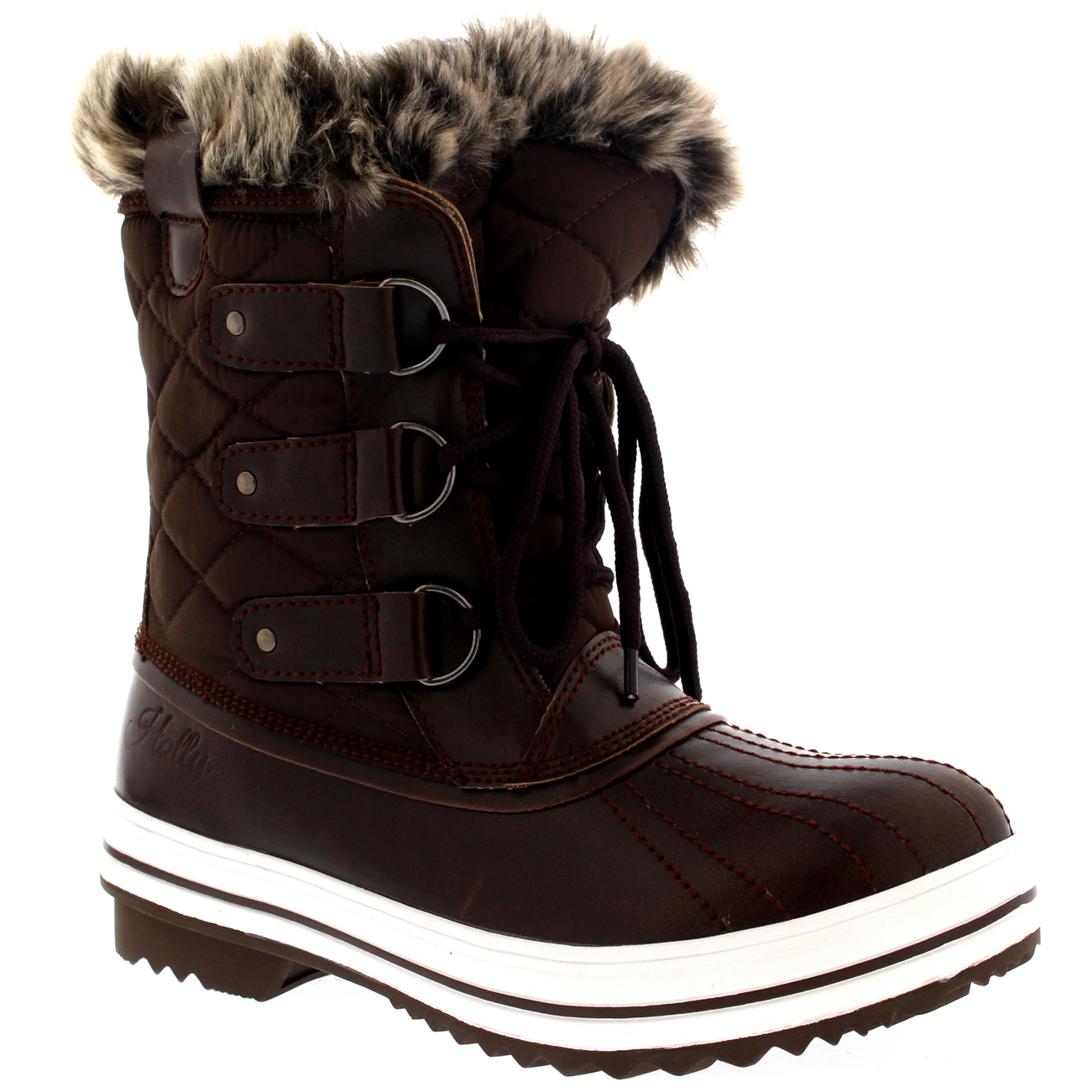 Womens-Snow-Boot-Nylon-Short-Winter-Snow-Fur-