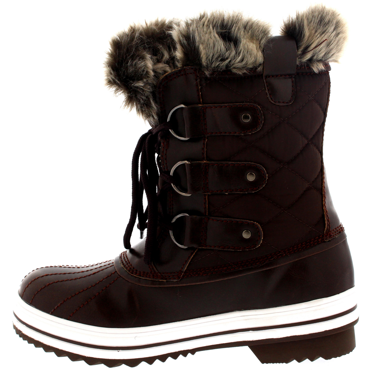 5a24d883902 Womens Snow Boot Nylon Short Winter Snow Fur Rain Warm Waterproof ...