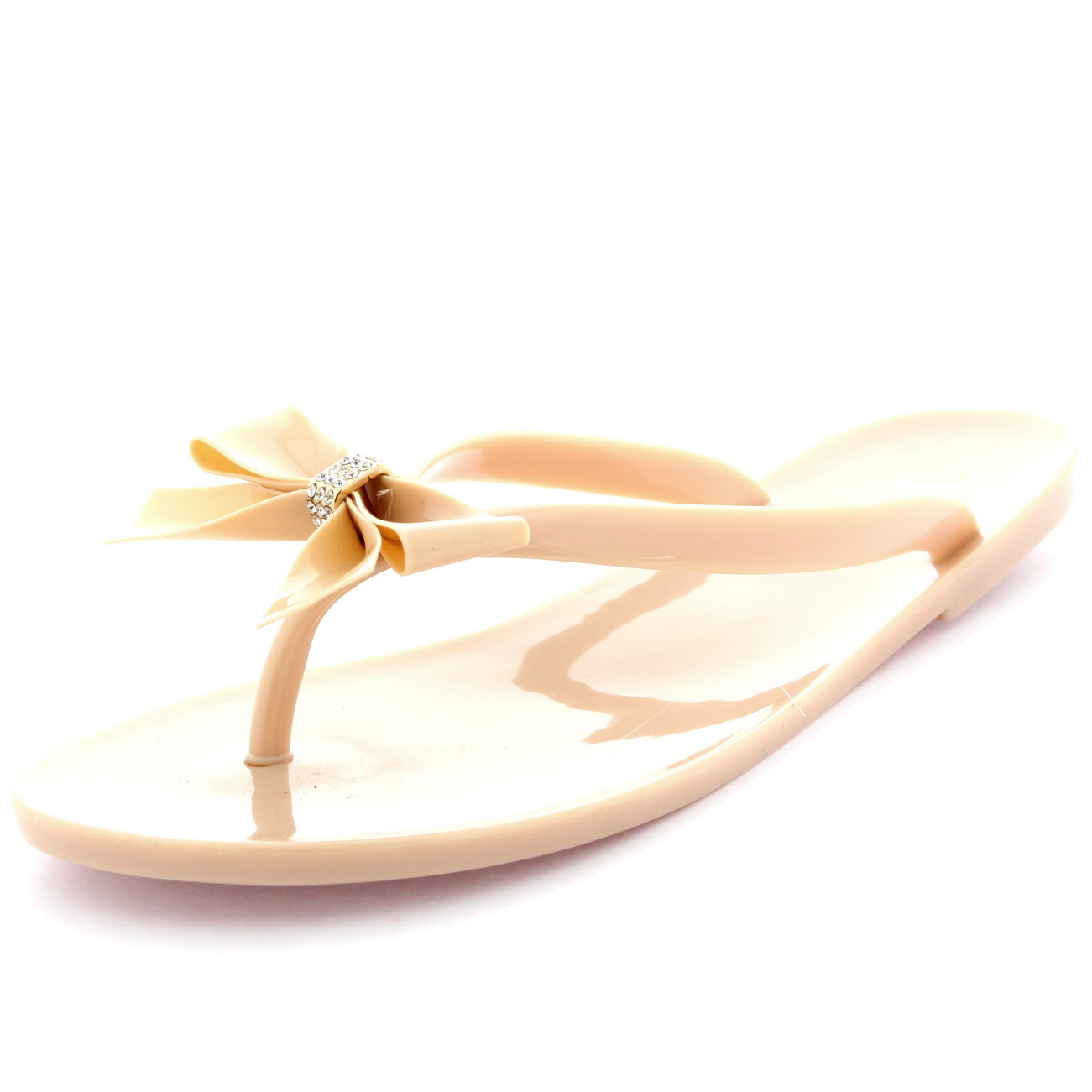 256f227575cf24 Womens Summer Holiday Slip On Beach Shoes Bow Jelly Flip Flops ...