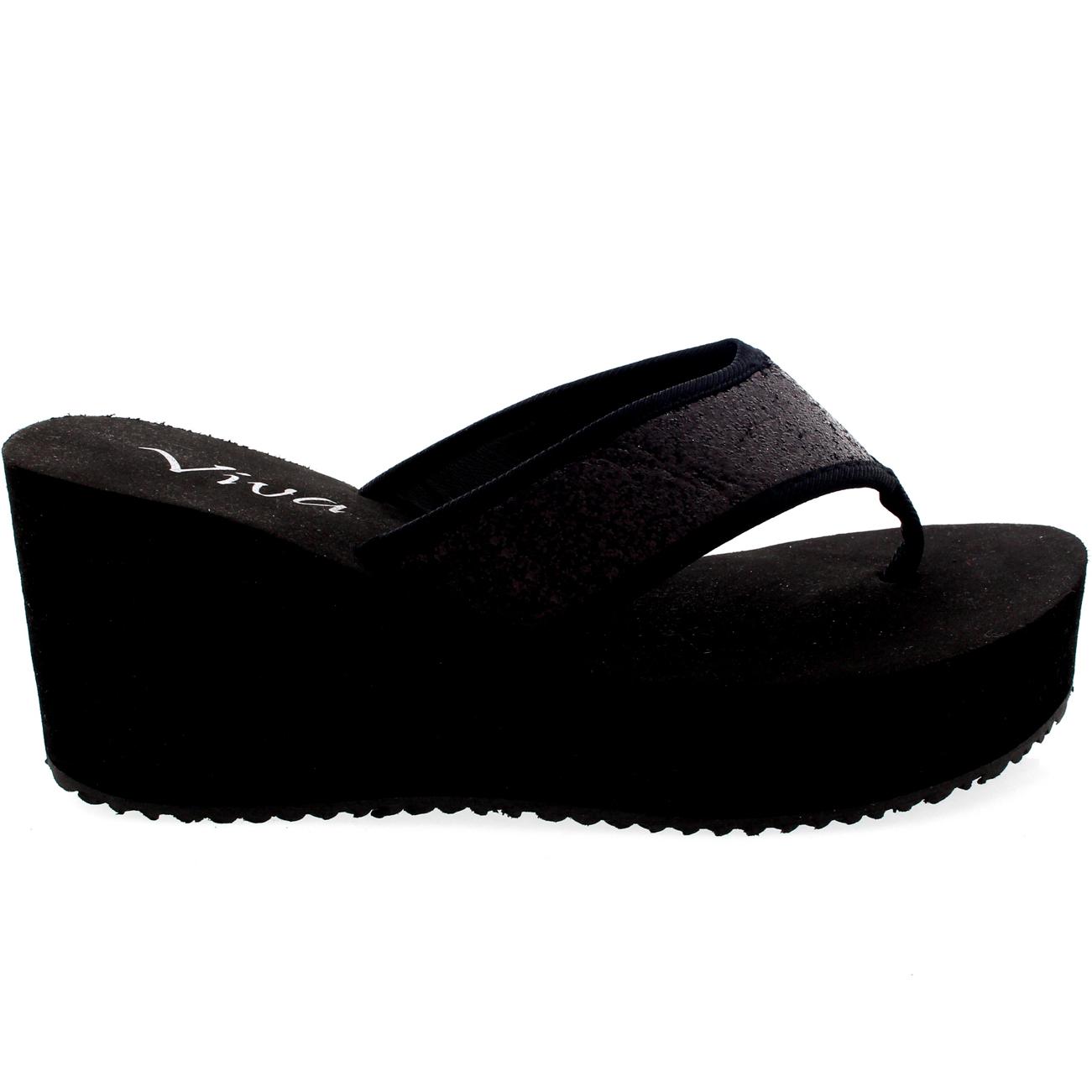 Brillo Flip Flop para Mujer Punta Abierta Cuña con Plataforma Tacón Alto Sandalias Reino Unido 3-9