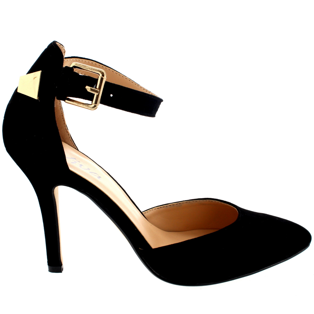 5cfe2fdcba1a Details about Womens Ankle Strap Low Mid Heel Office Work Court Shoes  Pointed Toe Suede UK 3-9
