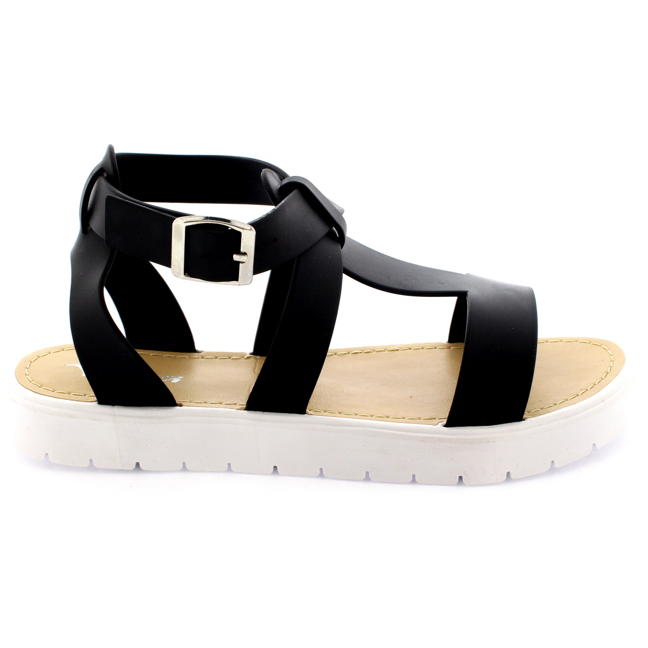 1c444a7ad5a Womens Shoes T-Strap Cleated Sole Open Toe White Flatform Jelly ...