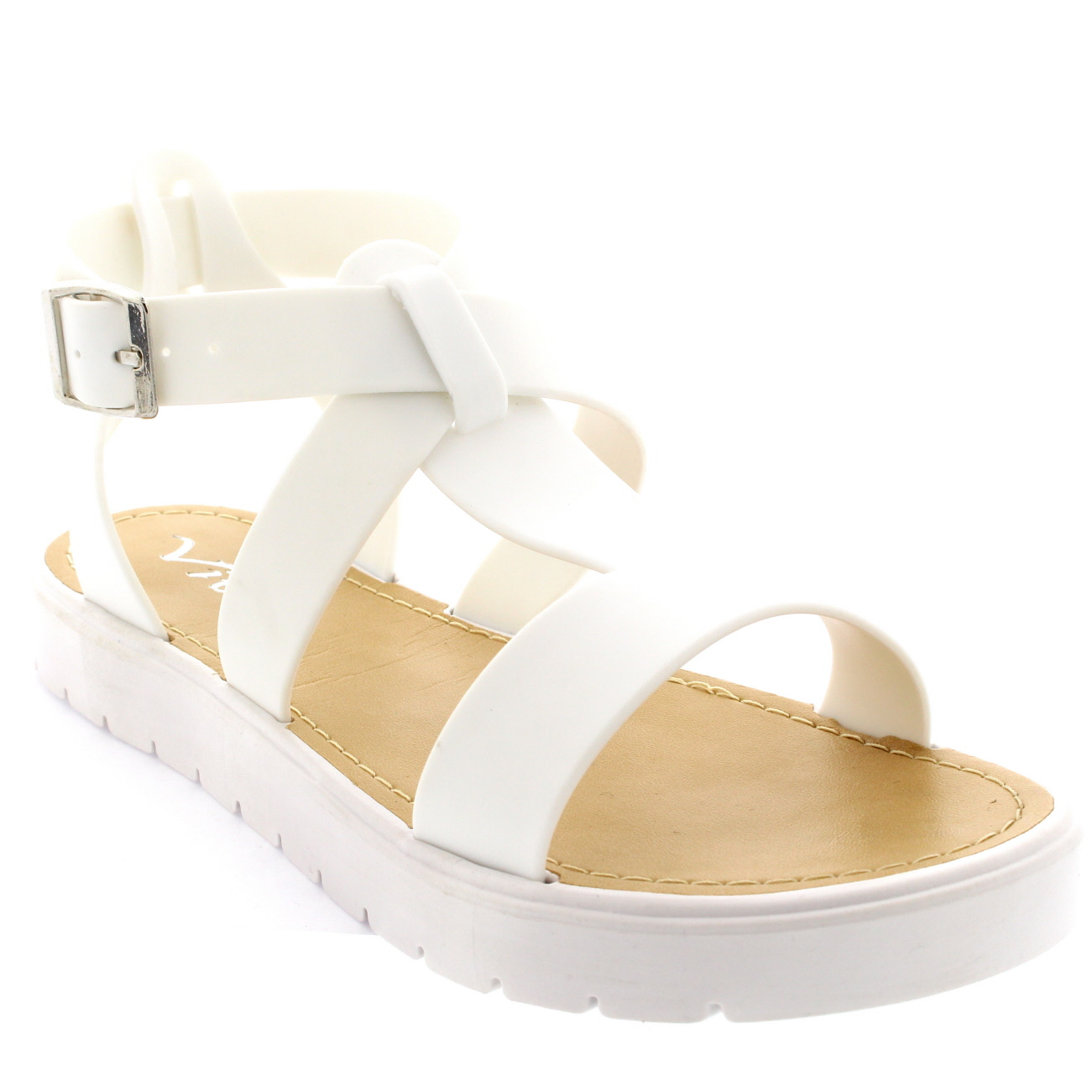 Womens Shoes T-Strap Cleated Sole Open Toe White Flatform Jelly ... 10e9a4026