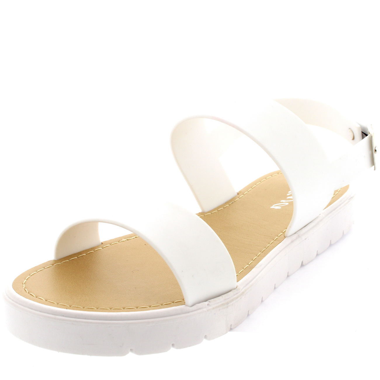 Womens Jelly Sling Back Open Toe Cleated White Sole Beach Flatform ...