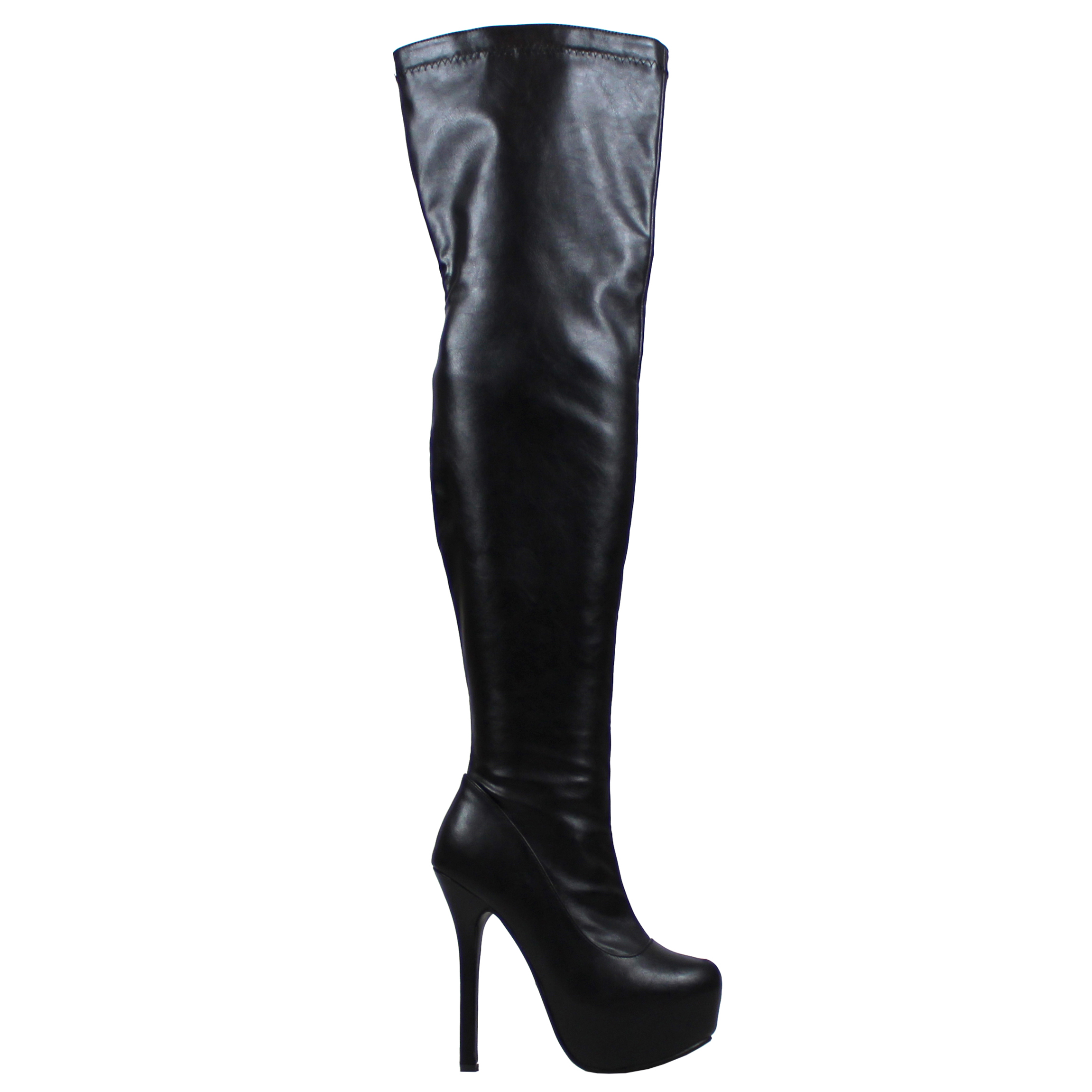 205c651eb4f Womens Stretch Over The Knee Block Heel High Long Evening Wide Fit Boots UK  3-10