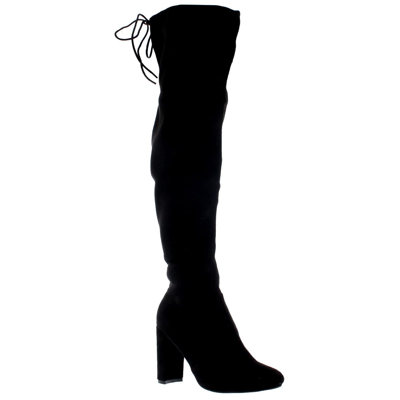 womens block heel stretch the knee wide
