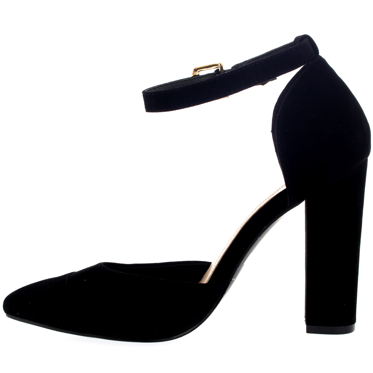 695dbadb28c19 Womens Pointed Toe Office Shoes Block Heel Ankle Strap High Heel ...