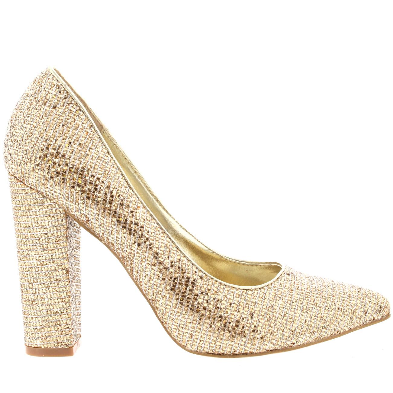Metallic Court Shoe Block Heel