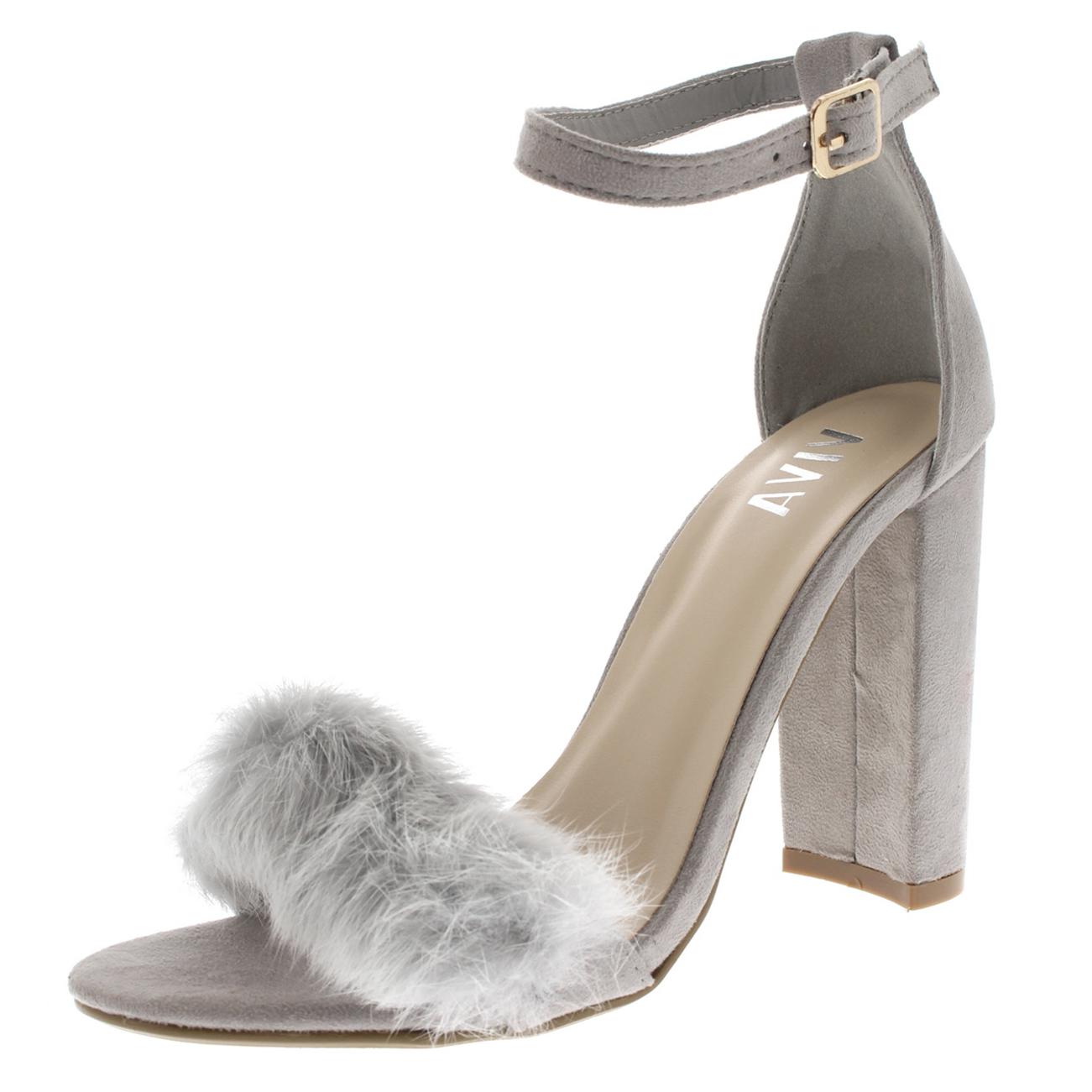 e8e1d94545a Womens Evening Block Heel Fashion Cut Out Party High Heels Fluffy ...