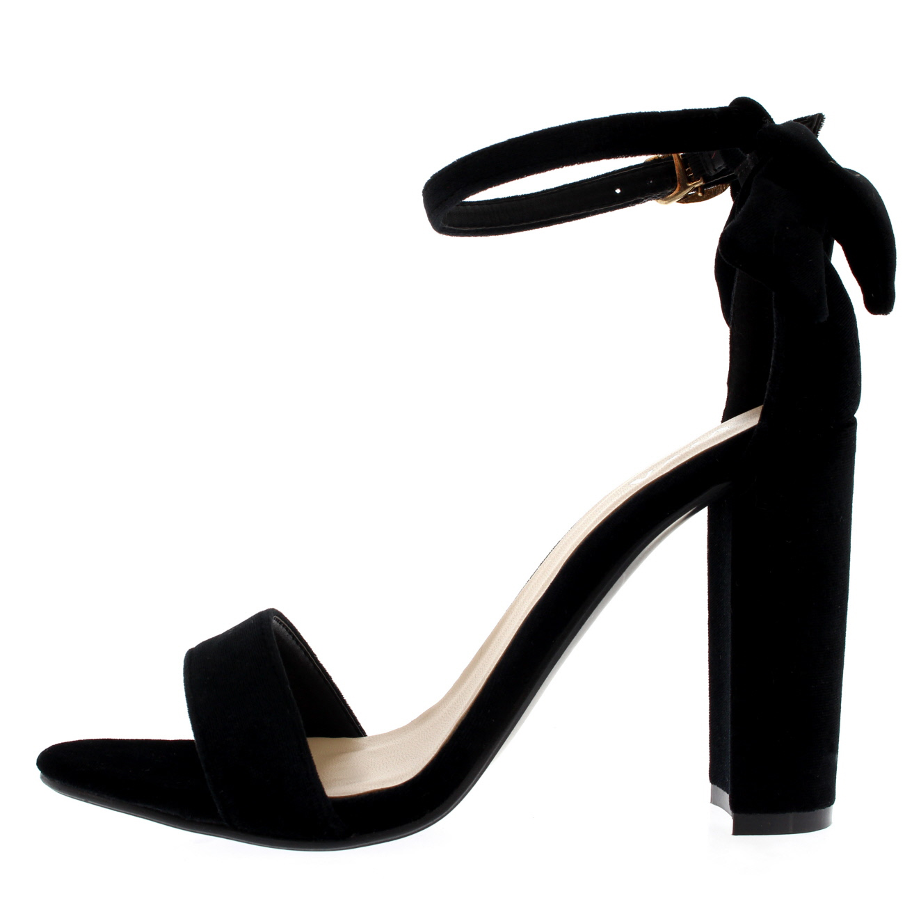 8e30a30dd34 Womens Barely There Cut Out Open Toe Bow Ankle Strap Block Heel ...