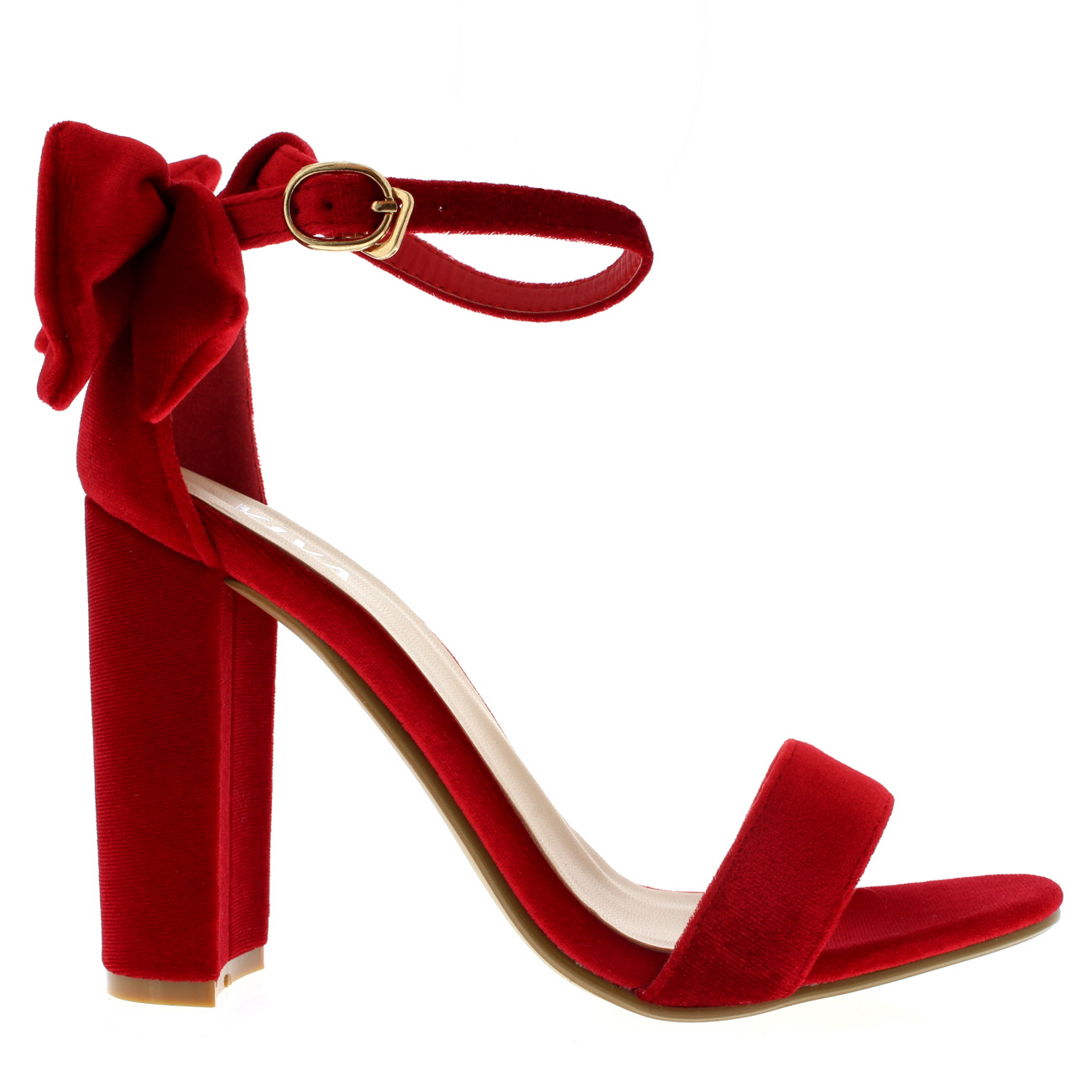 bc73c16584f Womens Barely There Cut Out Open Toe Bow Ankle Strap Block Heel ...