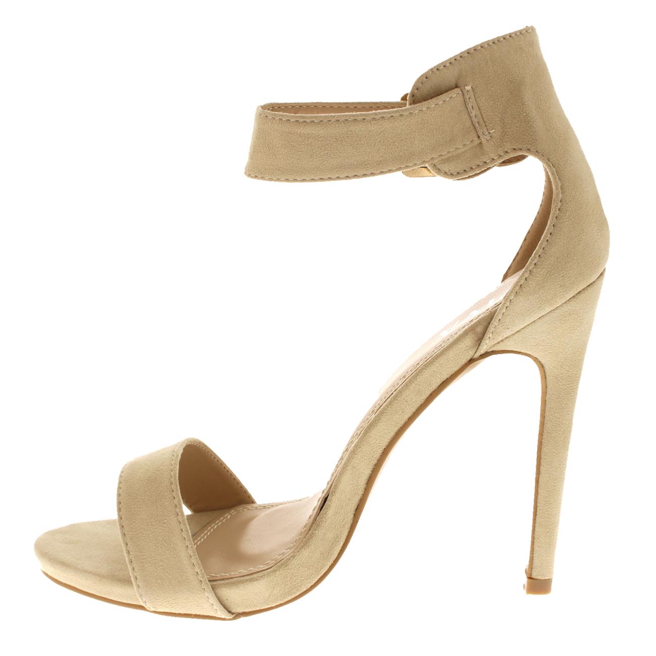 Para Mujer con Tiras puntera abierta apenas hay Recortar Sandalias De Salón Zapatos de Taco Alto UK 3-10