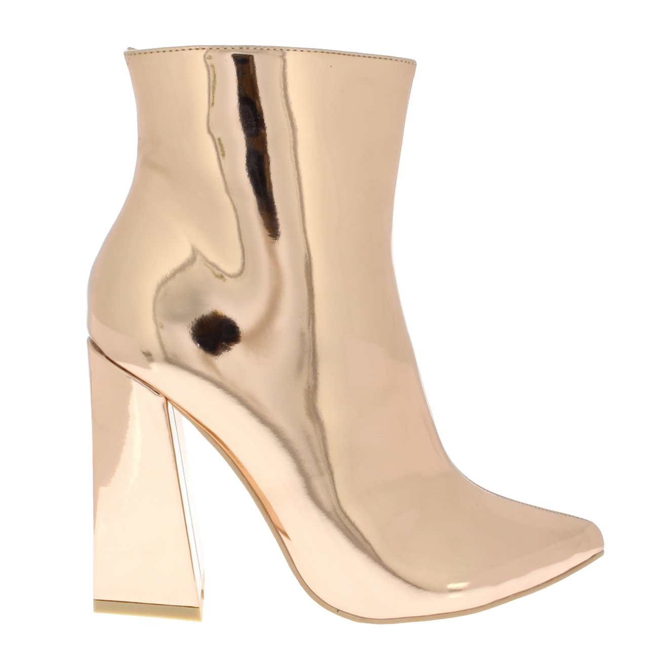 5d9e9d9c5f5 Womens Shiny Block Heel Fashion Chic Elegant Sassy Mid Heel Ankle ...