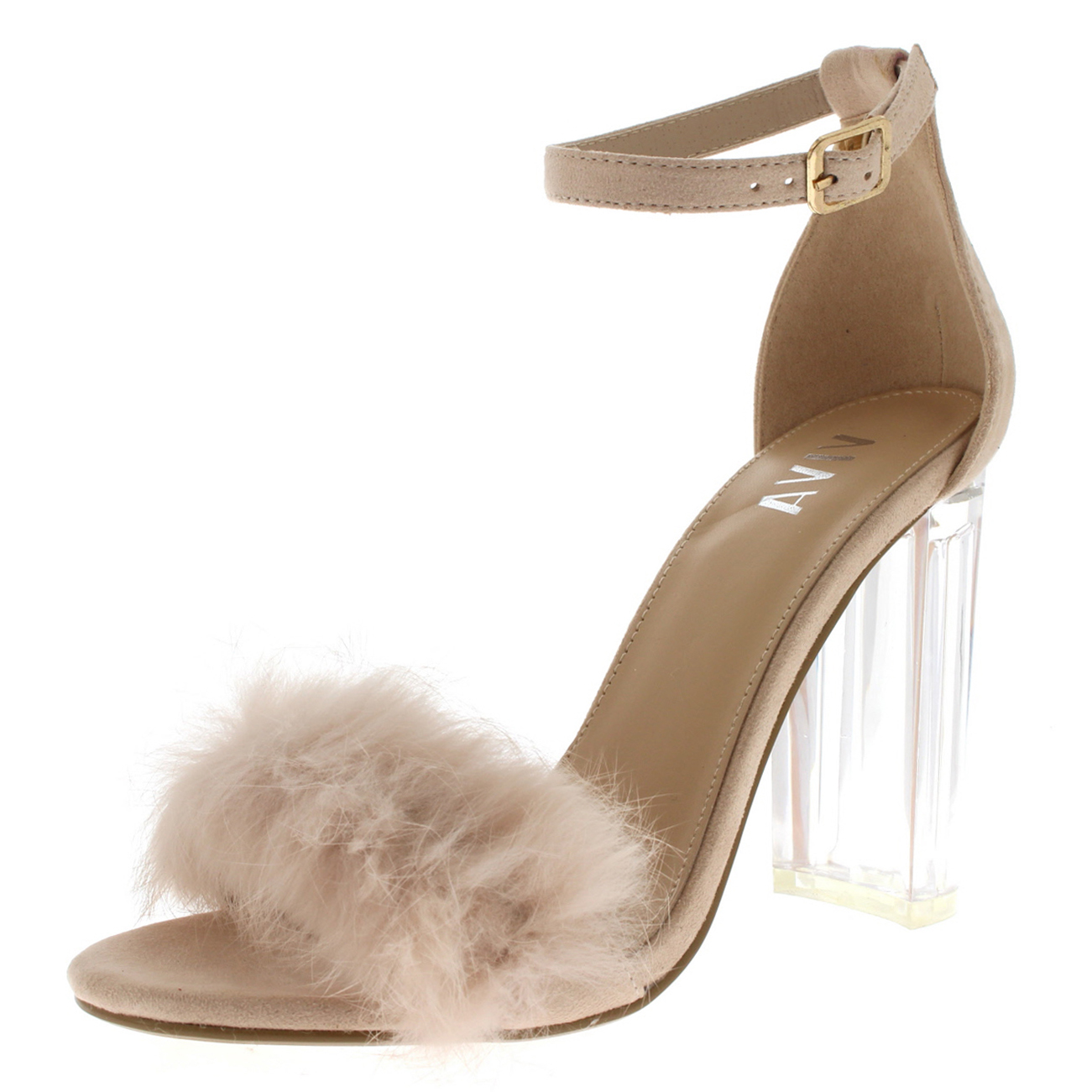 090d7ee54c Womens Fluffy Glass Block Heel Party Cut Out Fashion High Heels ...