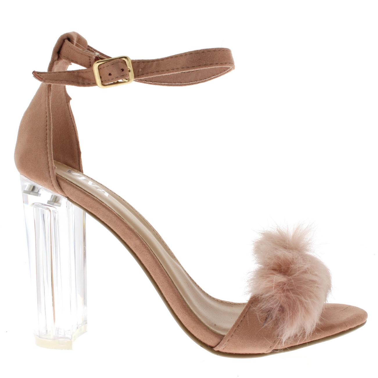 3bb1ecea438 Womens Fluffy Glass Block Heel Party Cut Out Fashion High Heels ...