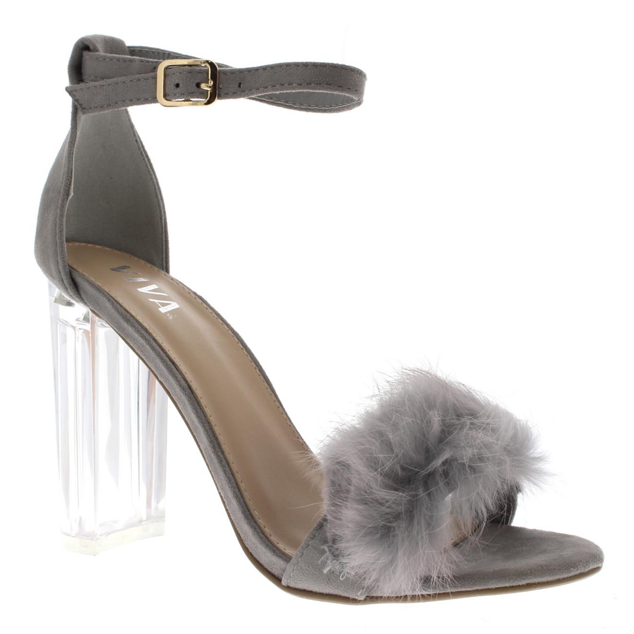 d5156aeb2ab Womens Fluffy Glass Block Heel Party Cut Out Fashion High Heels ...