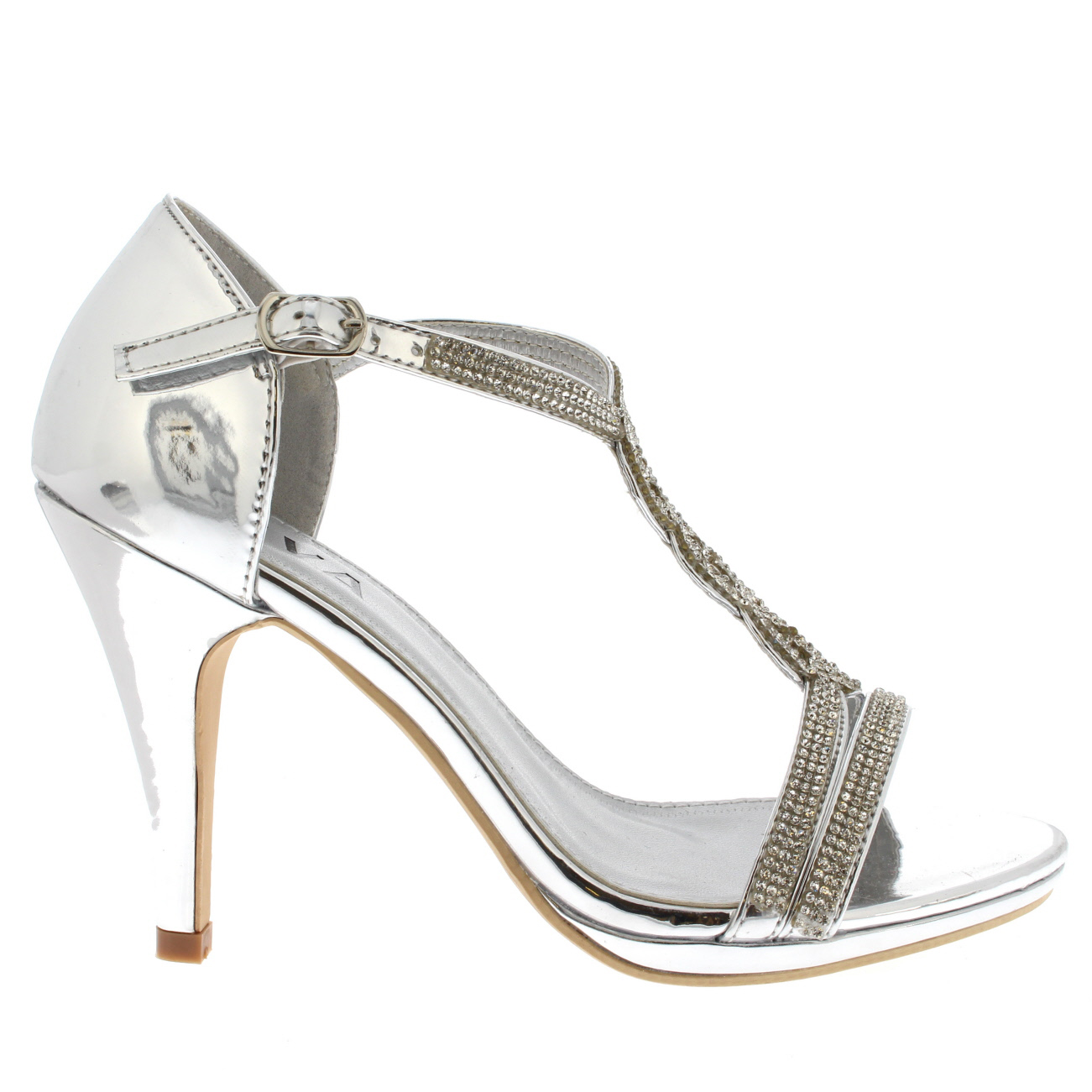 f65bd47b072 Womens Diamante T-Bar Mid Heel Wedding Party Metallic Sandals Shoes ...