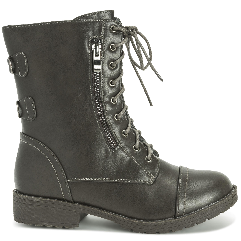 Womens Outside Pocket Zip Combat Military Fashion Winter Mid Calf ... 9bbef174f3