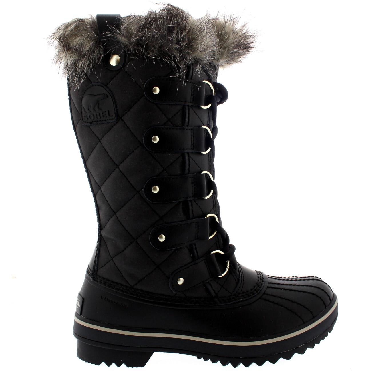 Womens Sorel Tofino Leather Snow Black Winter Fur Lace Up ...