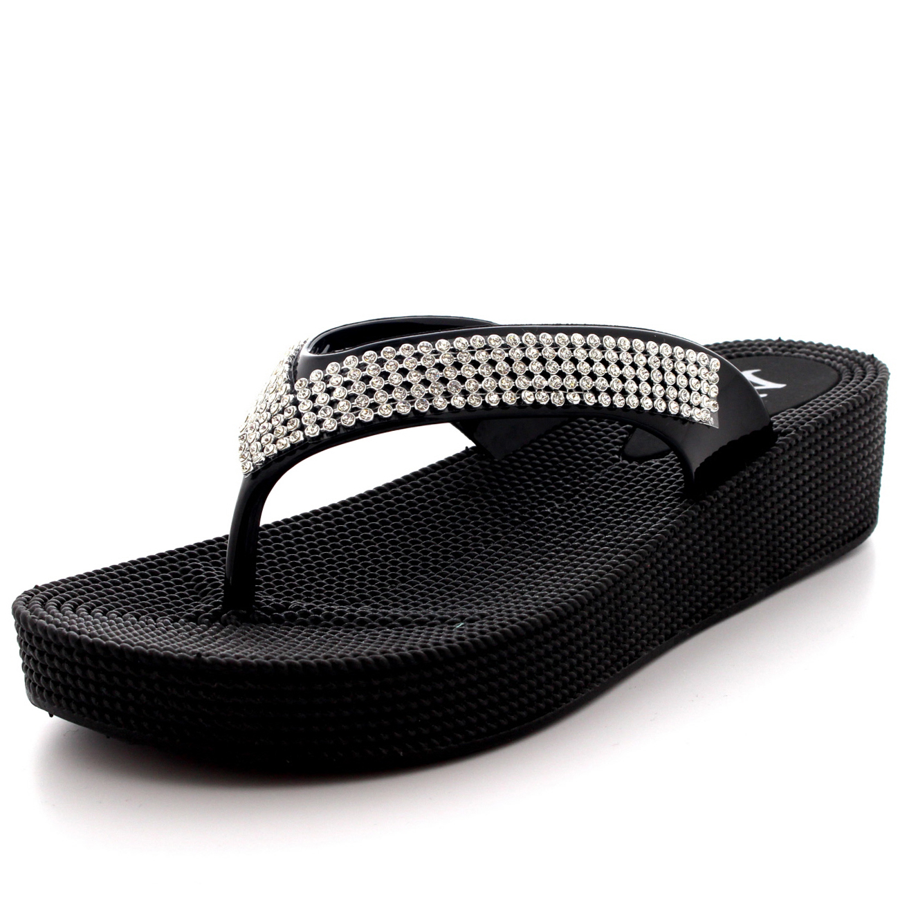 4ed238ea3b2823 Womens Beach Holiday Thong Sandals Jelly Wedge Heel Diamante Flip ...