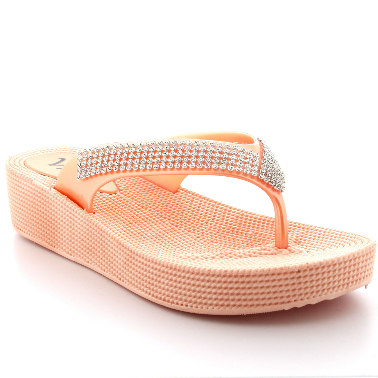 db1e48bf4ce60 Womens Beach Holiday Thong Sandals Jelly Wedge Heel Diamante Flip ...