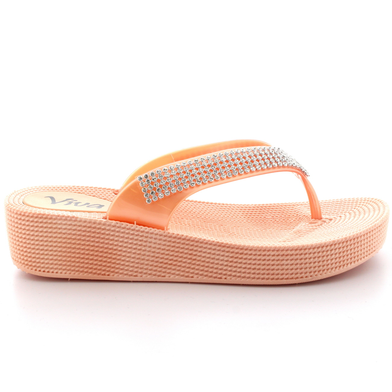 Womens Beach Holiday Thong Sandals Jelly Wedge Heel Diamante Flip ...